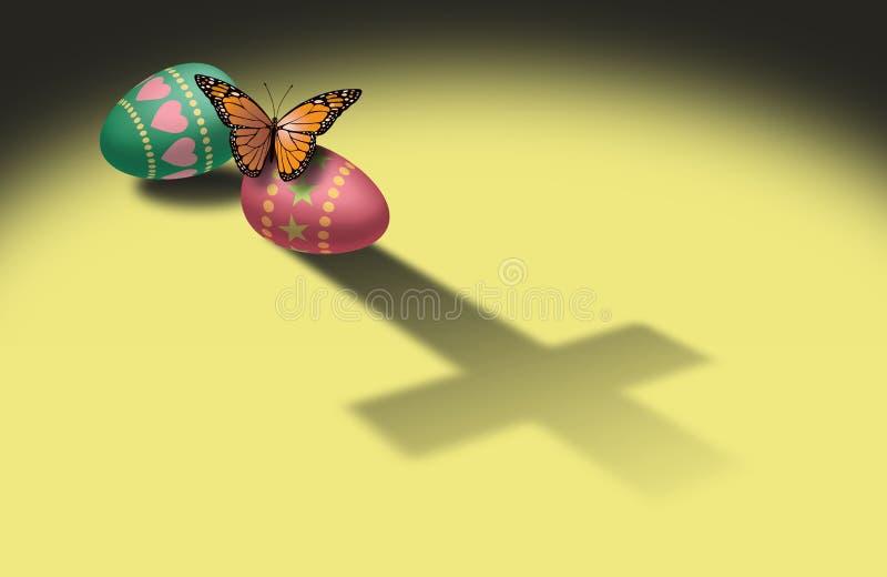 Borboleta e ovos da páscoa com sombra transversal cristã ilustração royalty free