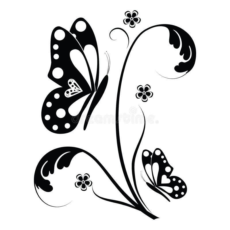 Borboleta e rolos florais ilustração royalty free
