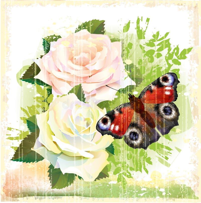 Borboleta e rosas ilustração royalty free
