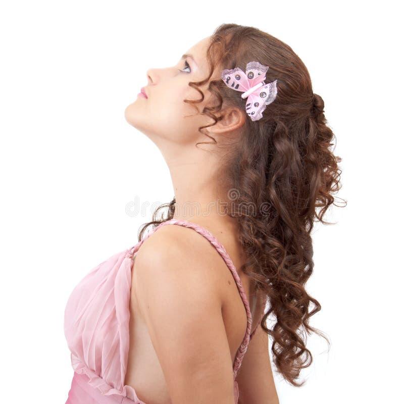 Borboleta em um cabelo. imagens de stock royalty free