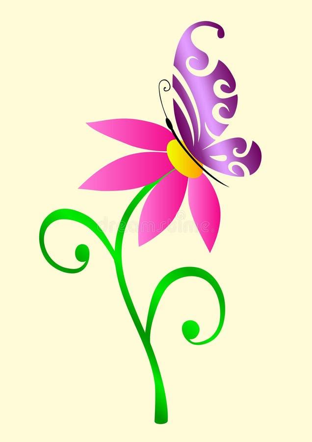A borboleta em uma flor ilustração stock