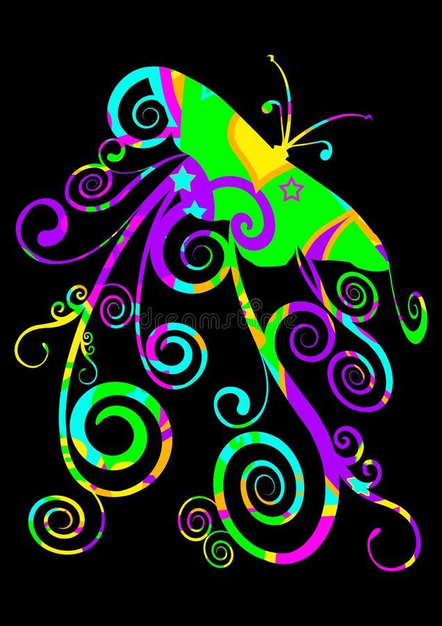 Borboleta estilizado brilhantemente colorida ilustração do vetor