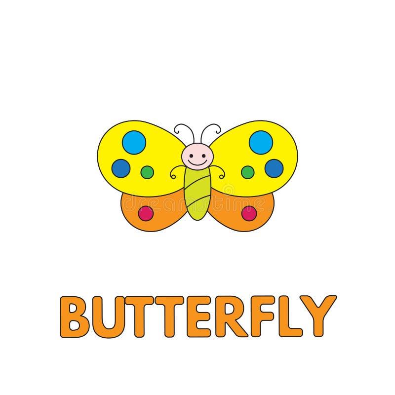 Borboleta Flashcard dos desenhos animados para crianças ilustração stock