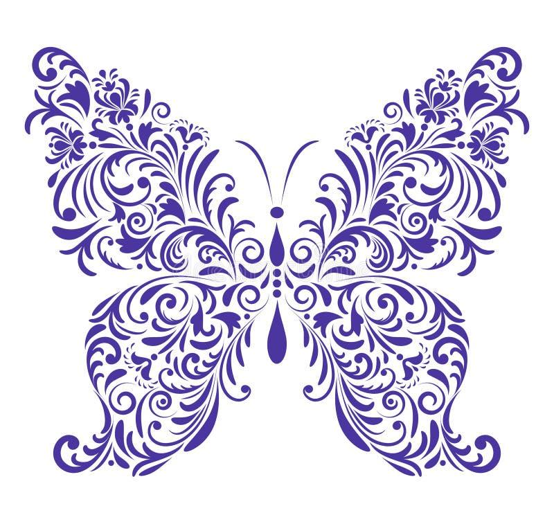 Borboleta floral abstrata ilustração do vetor