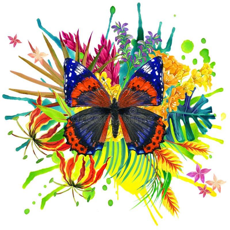 Borboleta, folhas tropicais e flor exótica ilustração royalty free