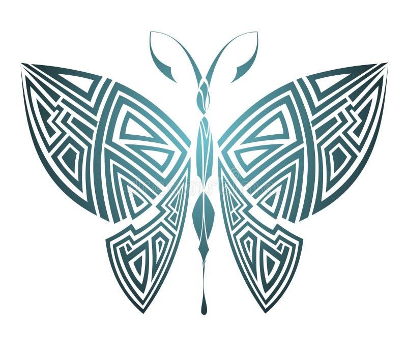 Borboleta geométrica. Projeto do tatuagem ilustração royalty free