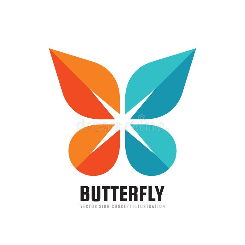 Borboleta - ilustração criativa do molde do logotipo do negócio do vetor no estilo liso Ícone abstrato do conceito Símbolo positi ilustração stock