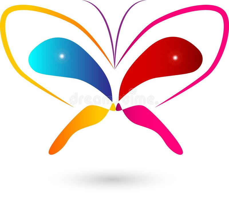 A borboleta, logotipo, coração, beleza, termas, relaxa, ama, as asas, ioga, estilo de vida, sumário amanteigado ilustração royalty free