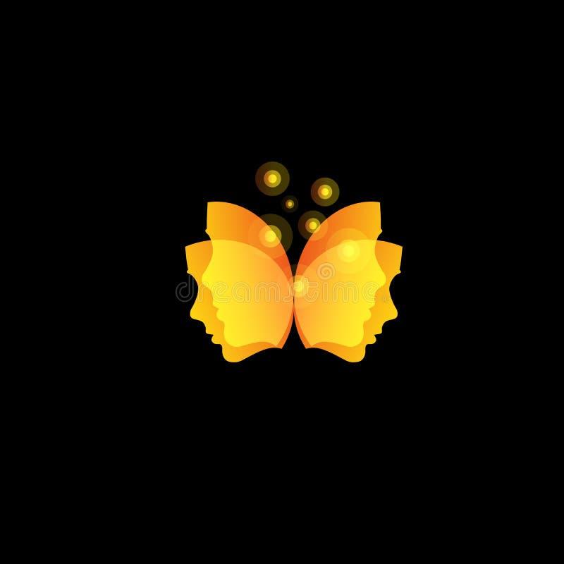 A borboleta mágica voa das máscaras faciais, molde alaranjado do logotipo do vetor do sumário ilustração do vetor