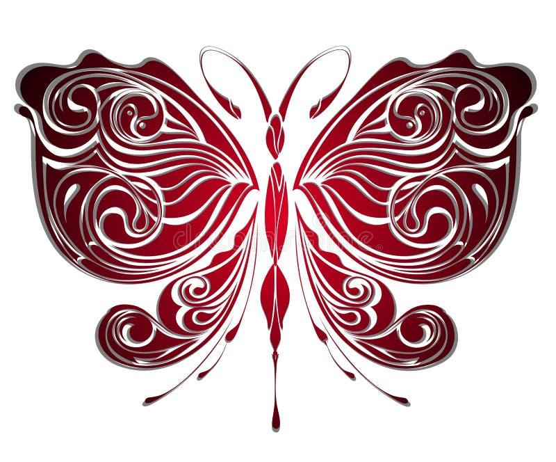 Borboleta misteriosa. Projeto do tatuagem ilustração stock