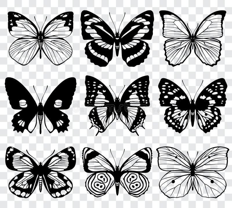 A borboleta mostra em silhueta a coleção do macro do vetor ilustração royalty free