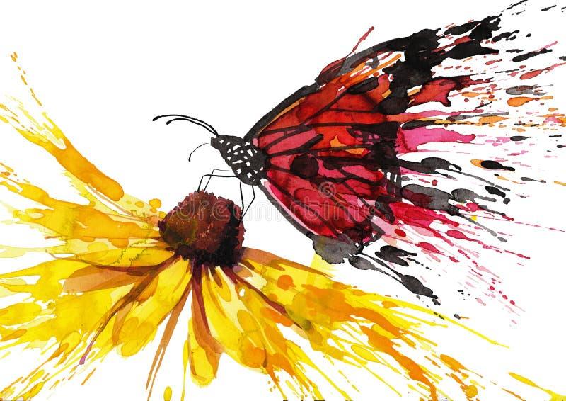 Borboleta na flor ilustração do vetor