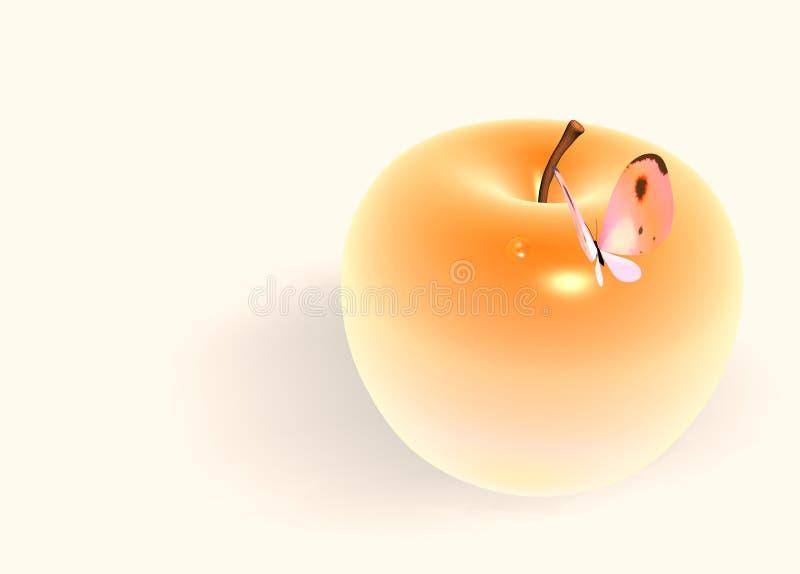 Borboleta na maçã ilustração royalty free