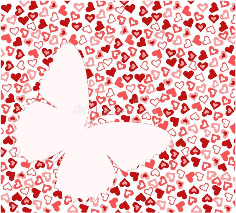 Borboleta na textura do coração imagem de stock royalty free