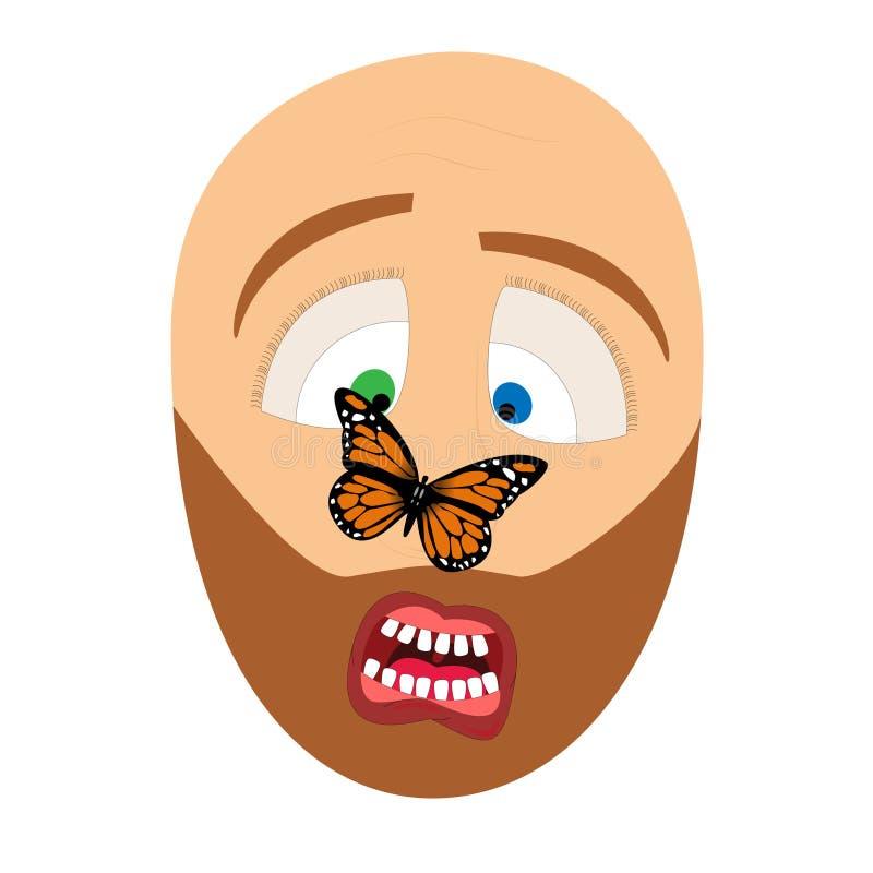 Borboleta no nariz de um homem ilustração royalty free