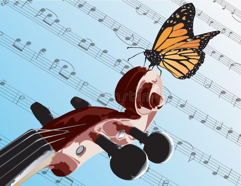 Borboleta no violino ilustração do vetor
