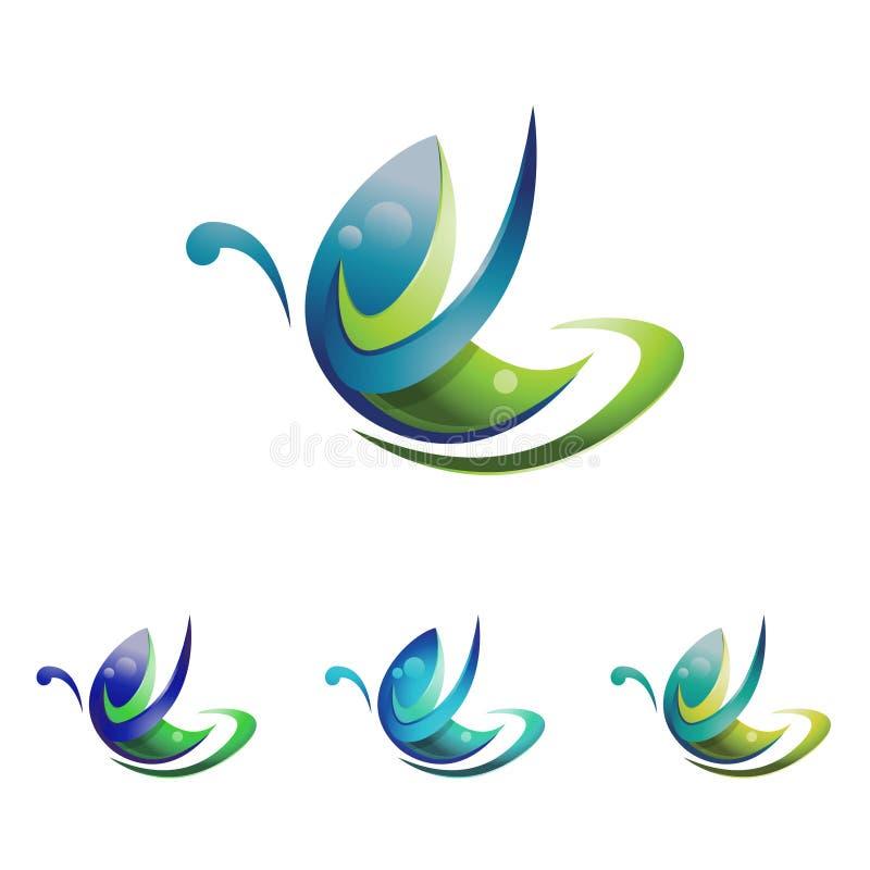 Borboleta original Logo Template no estilo 3D moderno ilustração royalty free