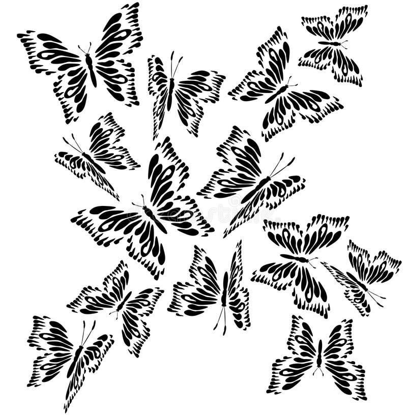 Borboleta preto e branco de vibração ilustração stock