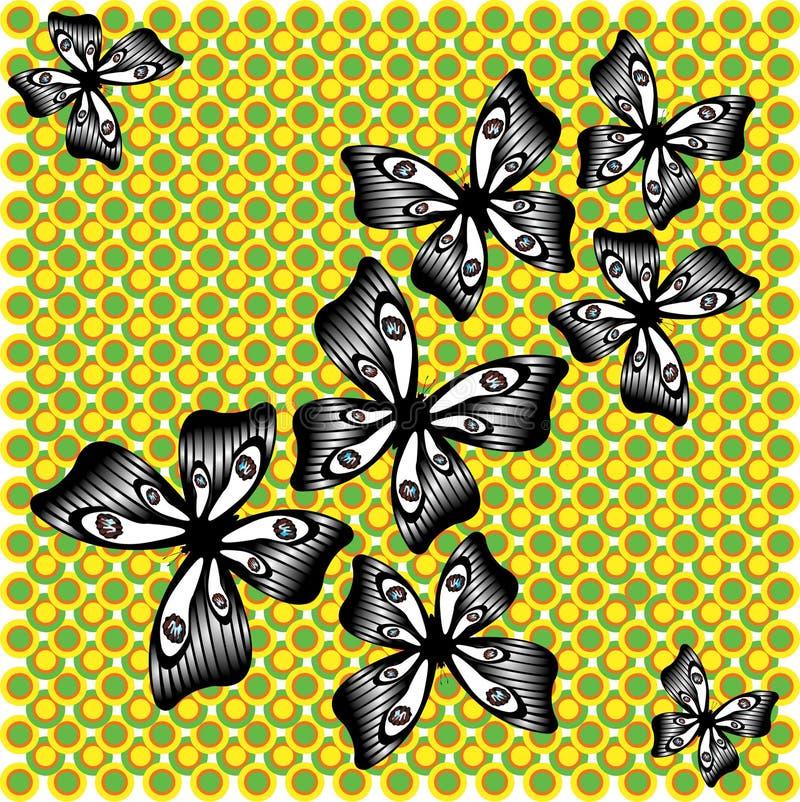 Borboleta preto e branco de vibração no fundo verde-amarelo ilustração royalty free