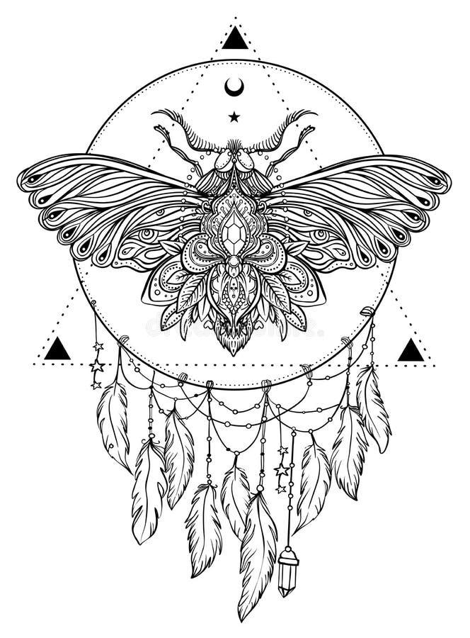Borboleta preto e branco sobre o sinal sagrado da geometria, VE isolada ilustração stock