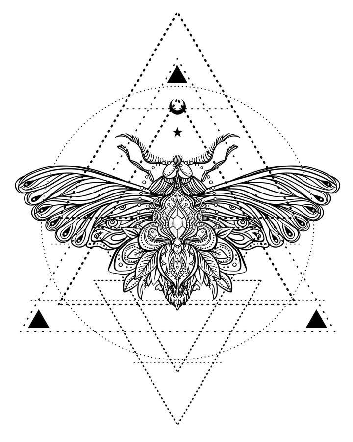 Borboleta preto e branco sobre o sinal sagrado da geometria, VE isolada ilustração do vetor