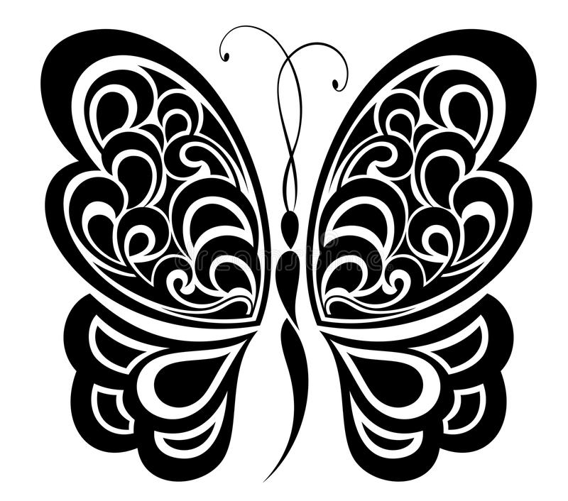 Borboleta. Projeto do tatuagem. ilustração stock