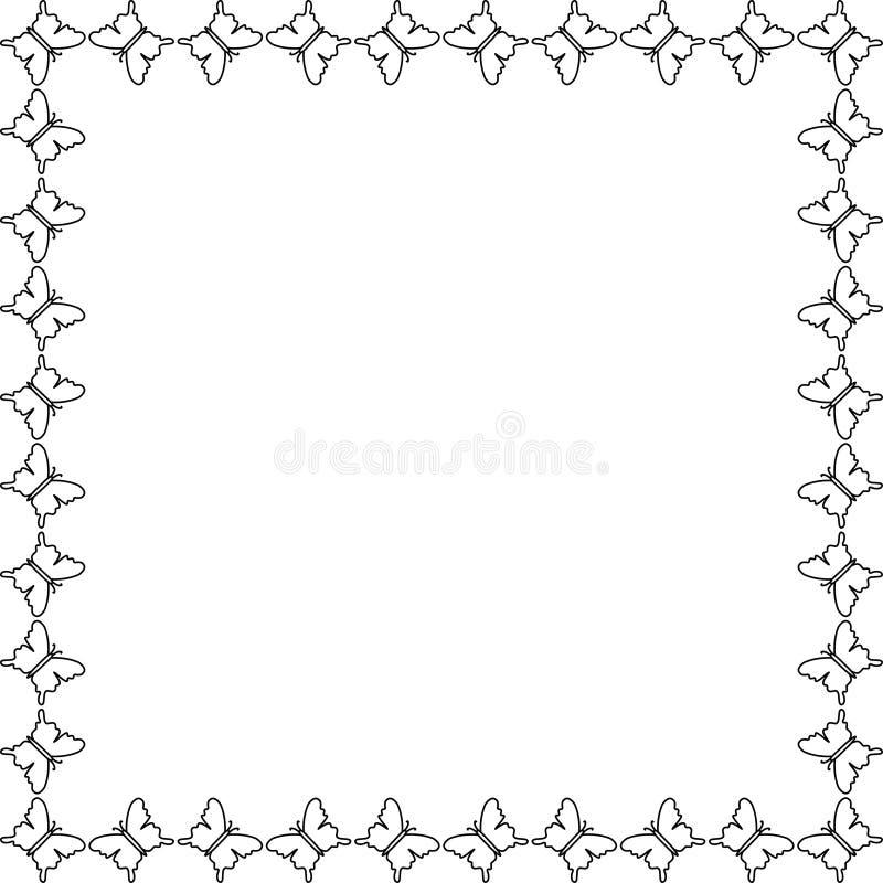 Borboleta Quadro, beira para o projeto dos cartão ou página da web ilustração royalty free