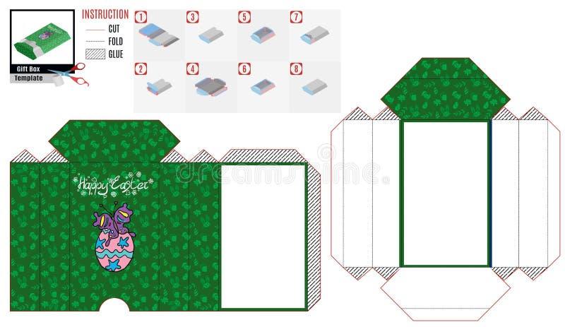 Borboleta roxa verde do molde da caixa de papel ilustração stock
