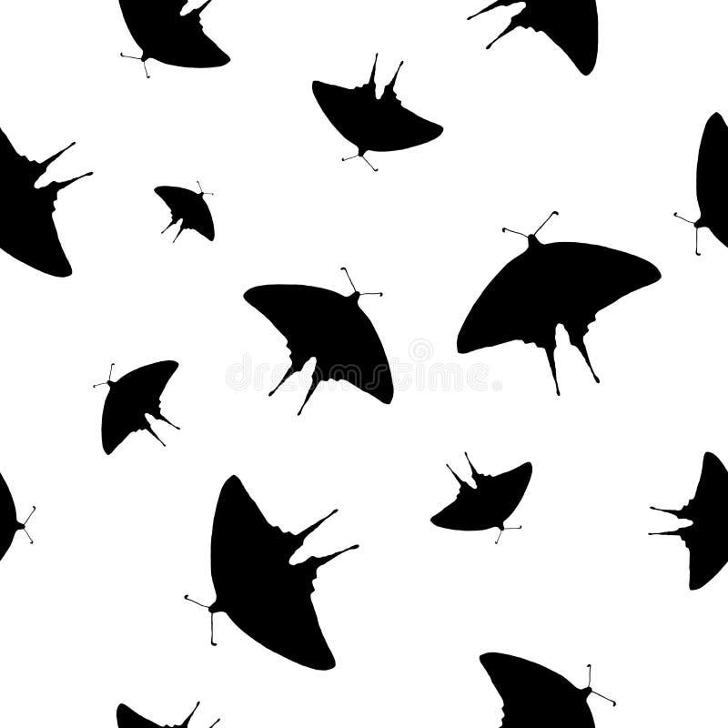 Borboleta sem emenda Swallowtail do preto do teste padrão no branco, vetor eps 10 ilustração stock
