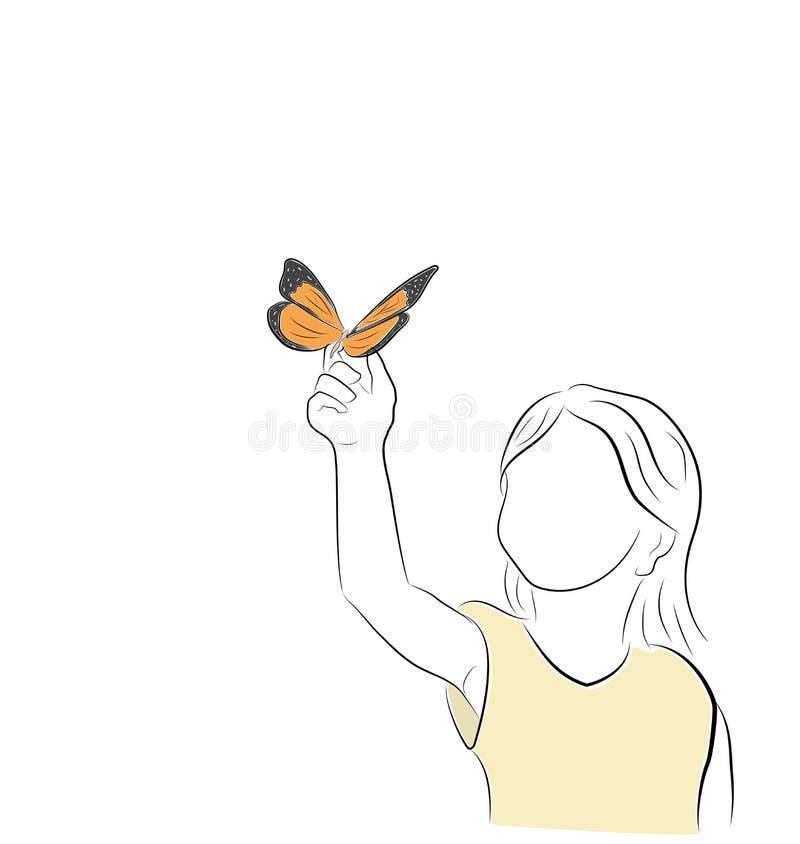 A borboleta senta-se na mão do ` s da menina Ilustração do vetor ilustração stock
