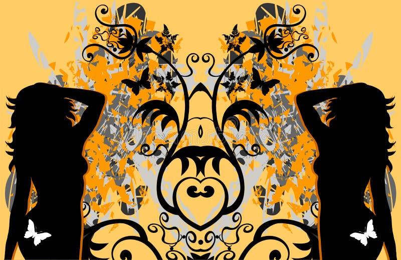 Borboleta 'sexy' das fêmeas de Grunge ilustração royalty free