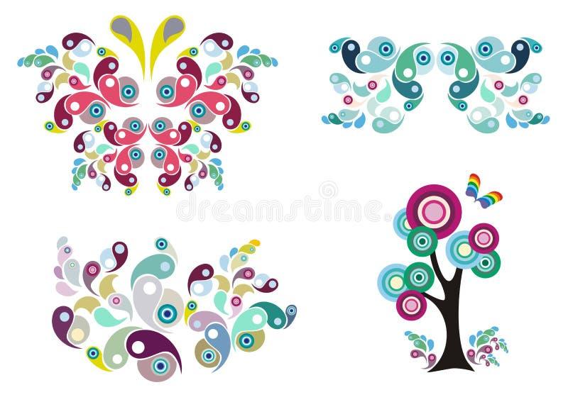 Borboleta, teste padrão floral e árvore ilustração royalty free