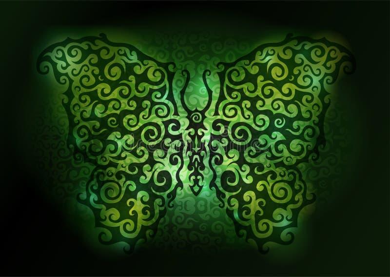 Borboleta verde brilhante ilustração stock