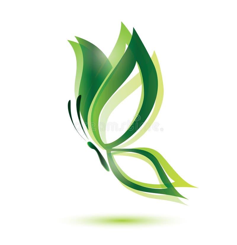 Borboleta verde, conceito da ecologia ilustração royalty free