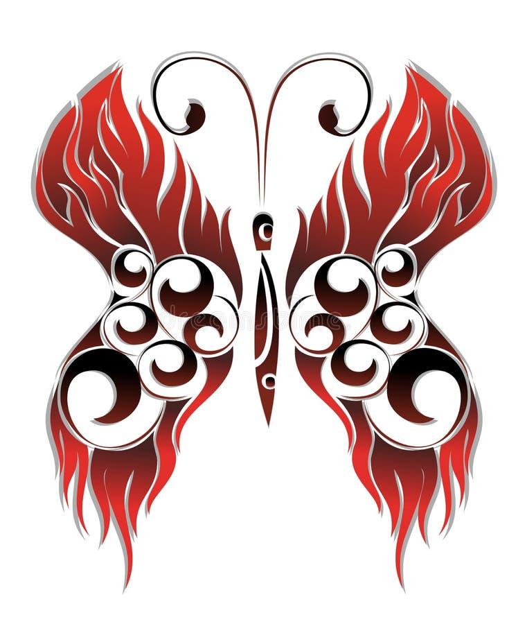 Borboleta vermelha do tatuagem ilustração do vetor