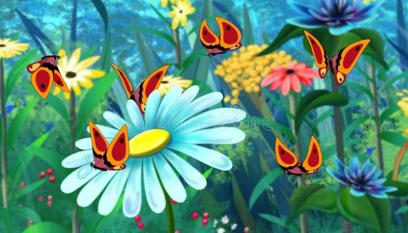 Borboleta vermelha e imagem azul da cor completa da flor ilustração royalty free