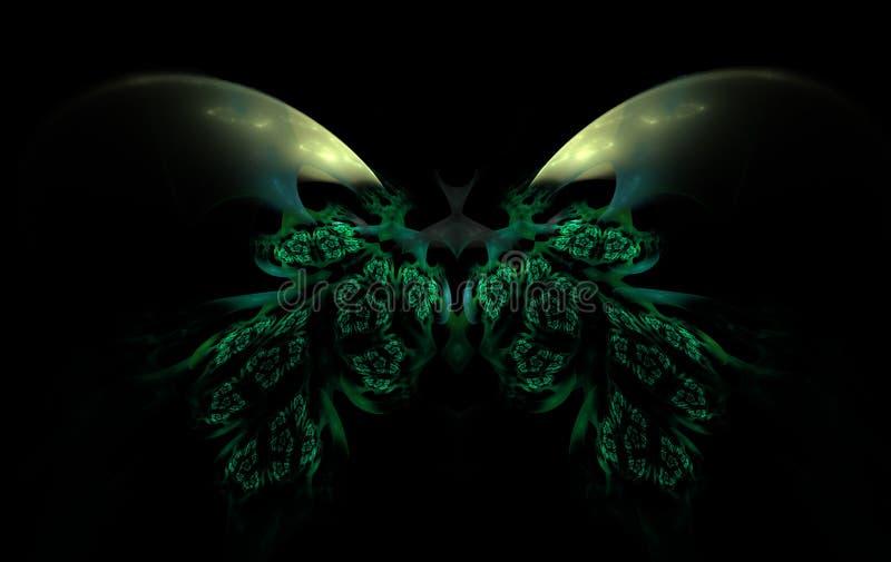 Borboleta voadora colorida, sobre fundo preto ilustração royalty free