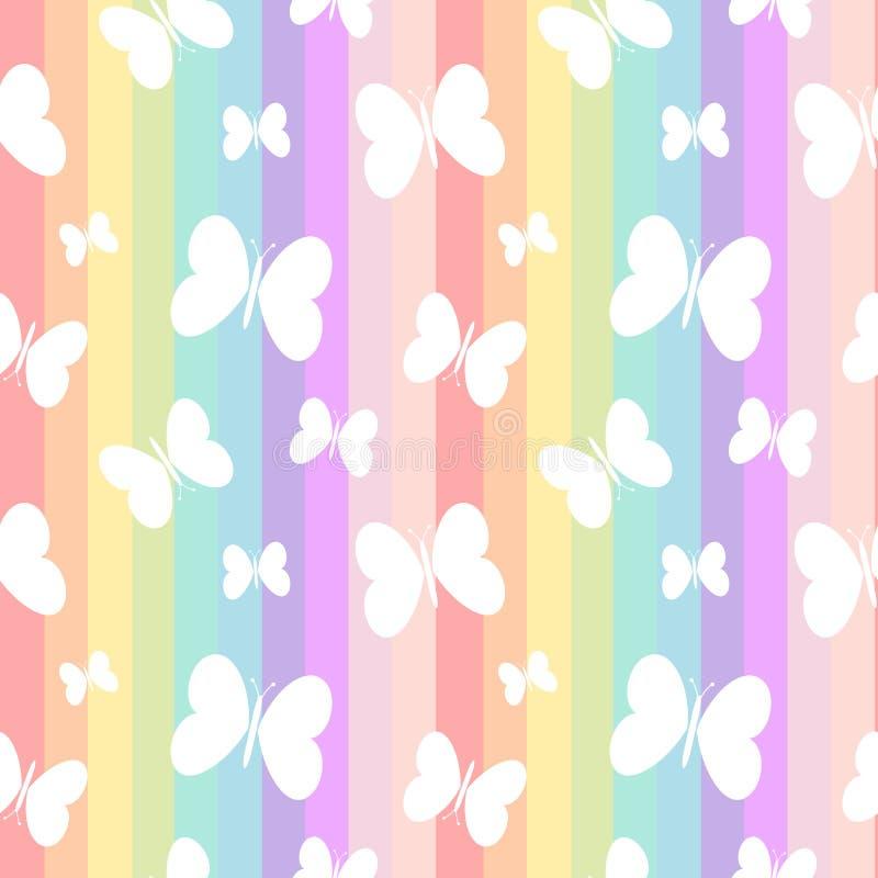 Borboletas brancas bonitos na ilustração sem emenda do fundo do teste padrão das listras coloridas do arco-íris ilustração royalty free