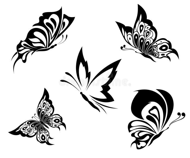 Borboletas brancas pretas de um tatuagem ilustração royalty free