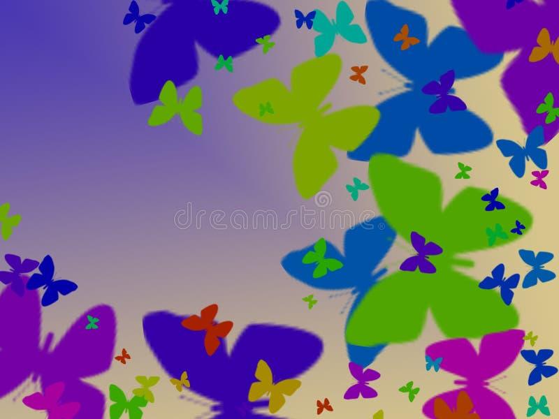 Borboletas coloridas em um fundo lilás, cópia animalista ilustração stock
