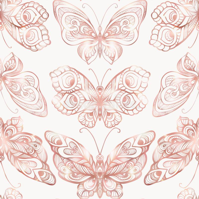 Borboletas com teste padrão da decoração Teste padrão sem emenda, fundo Gráfico em cores cor-de-rosa do ouro ilustração royalty free