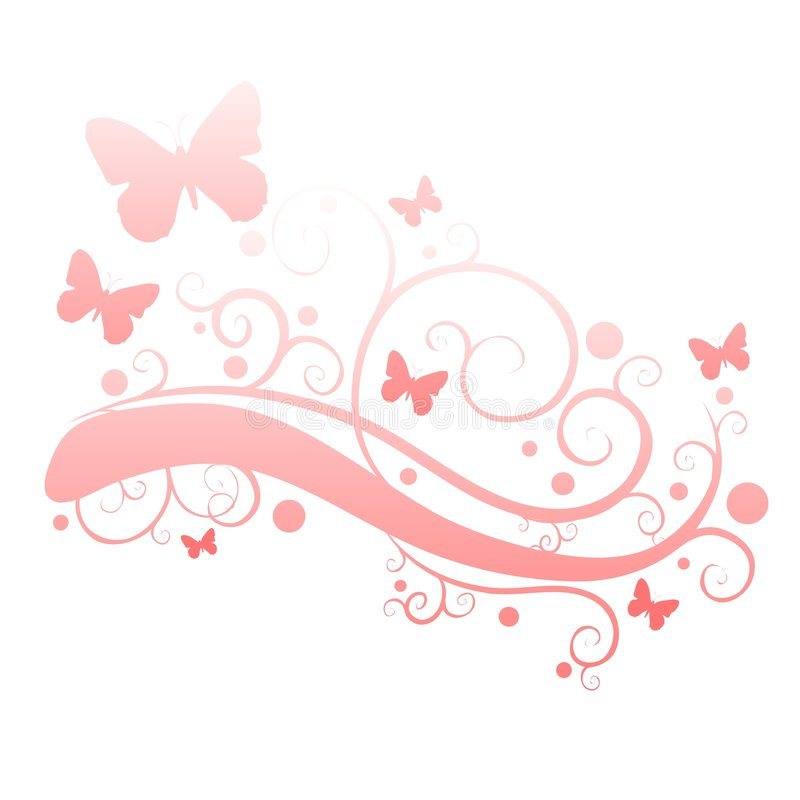 Borboletas cor-de-rosa na silhueta do jardim de flor ilustração stock