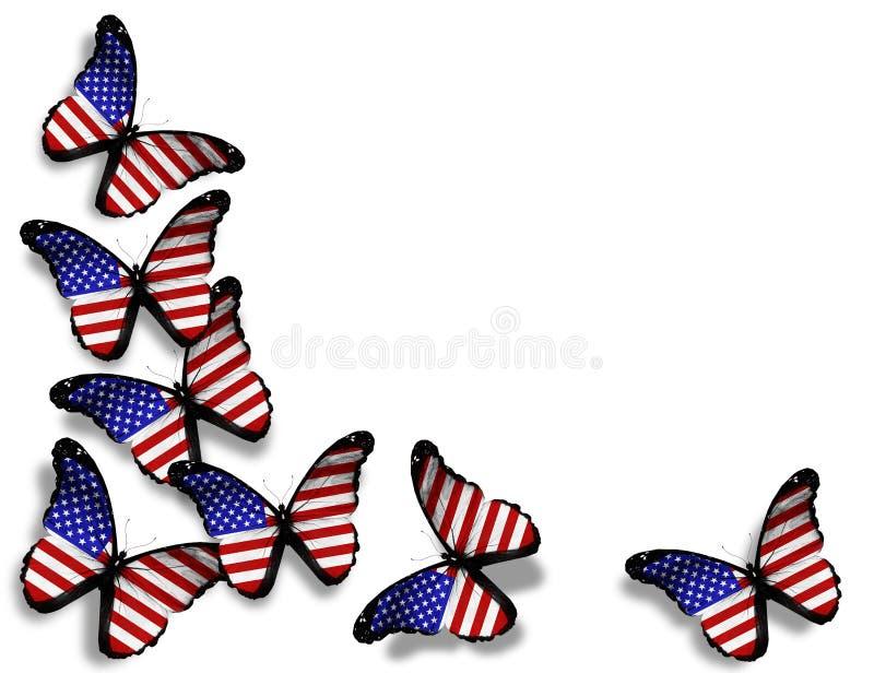 Borboletas da bandeira americana no branco fotografia de stock royalty free
