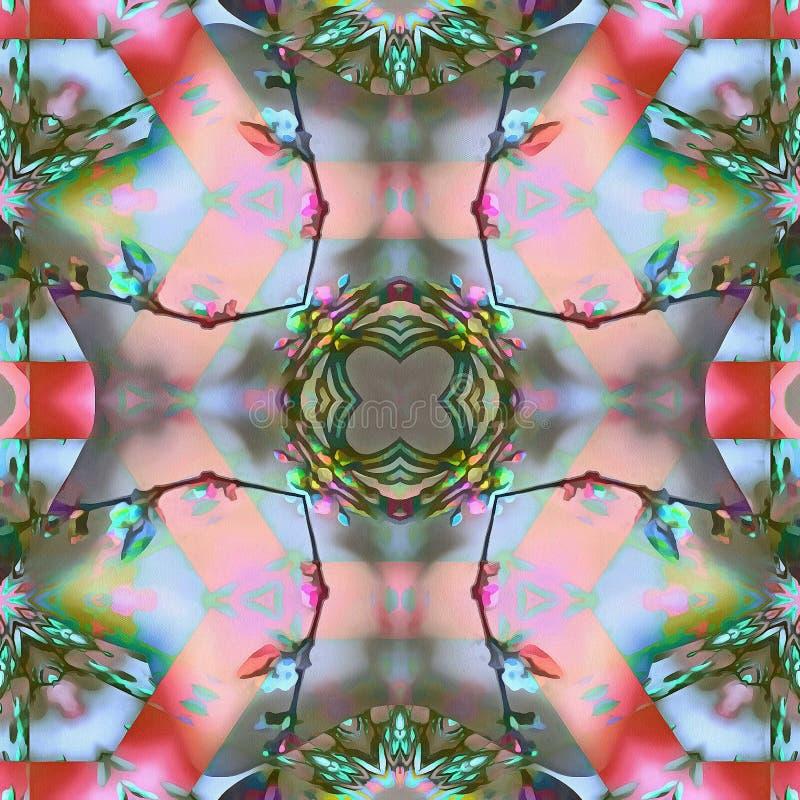 Borboletas da flor do Fractal do Batik ilustração do vetor