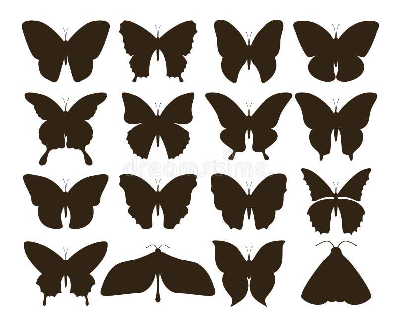Borboletas da silhueta Coleção simples de formas pretas tiradas mão da tatuagem, grupo do inseto do vintage Borboleta do vetor ilustração do vetor