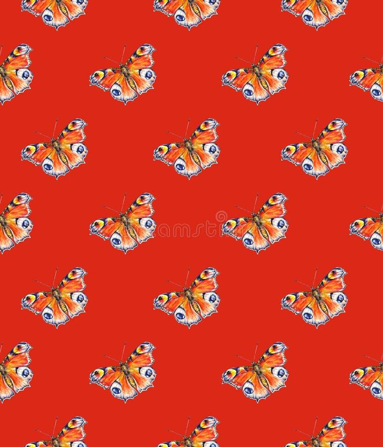 Borboletas de pavão em um fundo vermelho Desenho da aguarela Arte dos insetos Handwork Teste padrão sem emenda ilustração do vetor