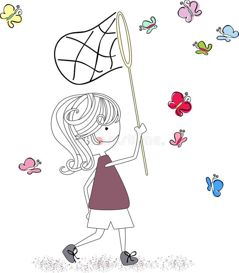 Borboletas de travamento do menino ilustração stock