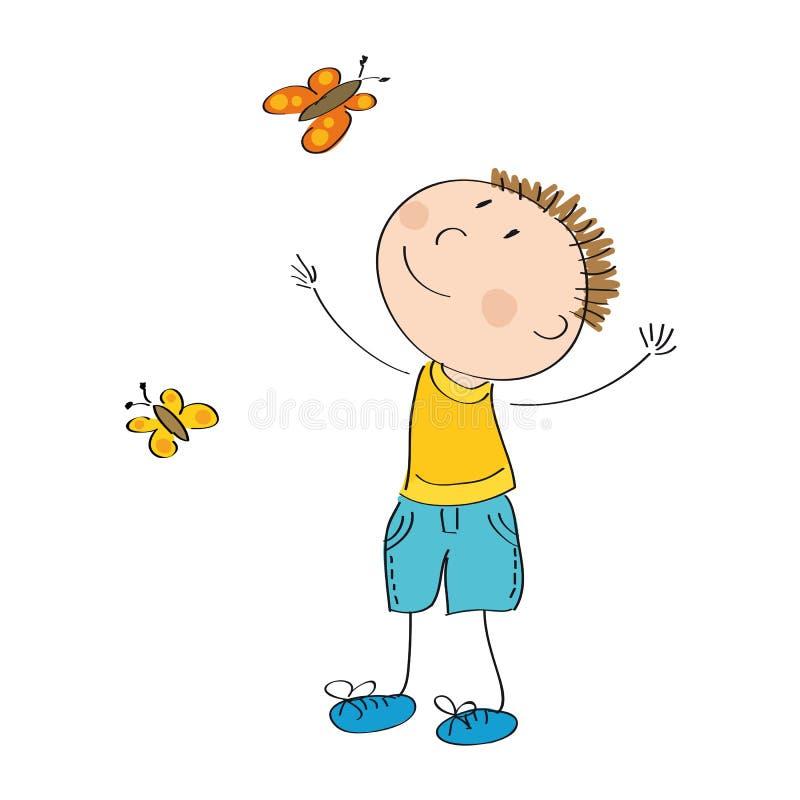 Borboletas de travamento do menino feliz ilustração do vetor