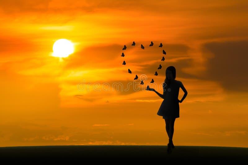 Borboletas do amor no por do sol foto de stock royalty free