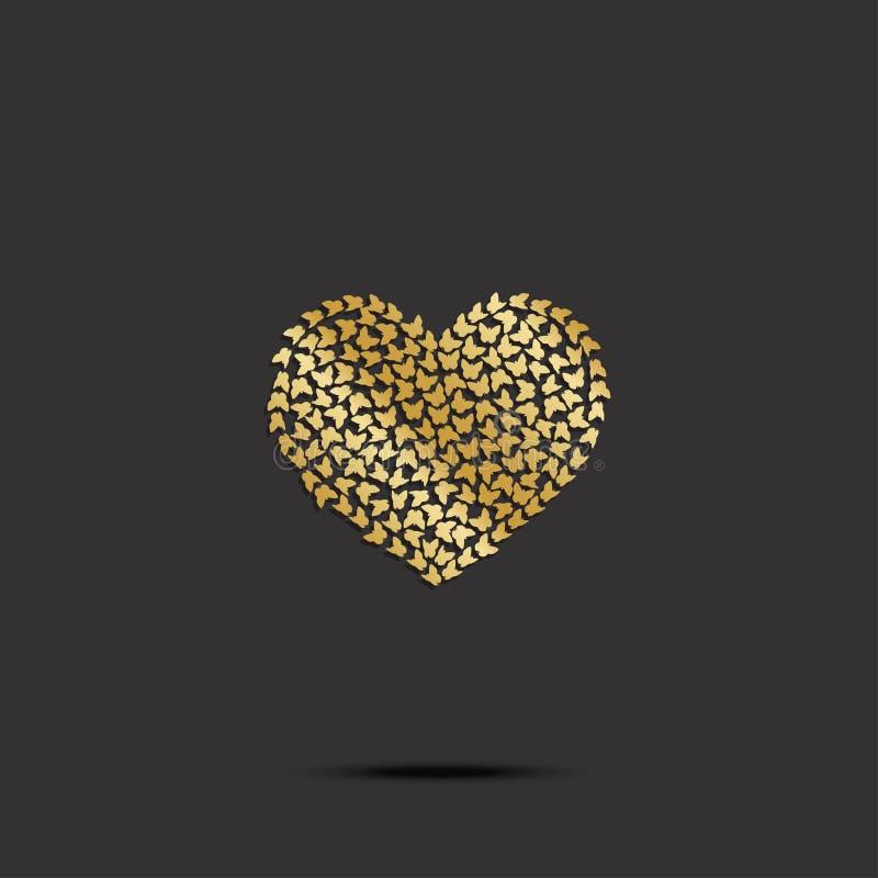 Borboletas do coração do ouro no fundo preto Vetor ilustração do vetor